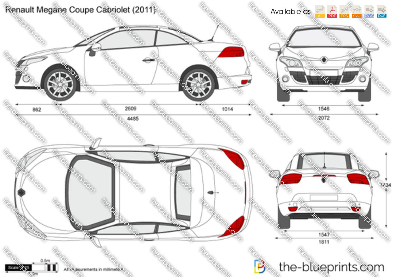 renault megane coupe cabriolet vector drawing