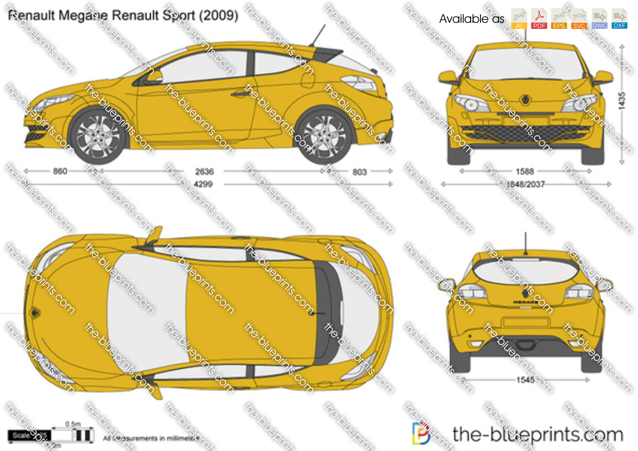 renault megane renault sport vector drawing. Black Bedroom Furniture Sets. Home Design Ideas