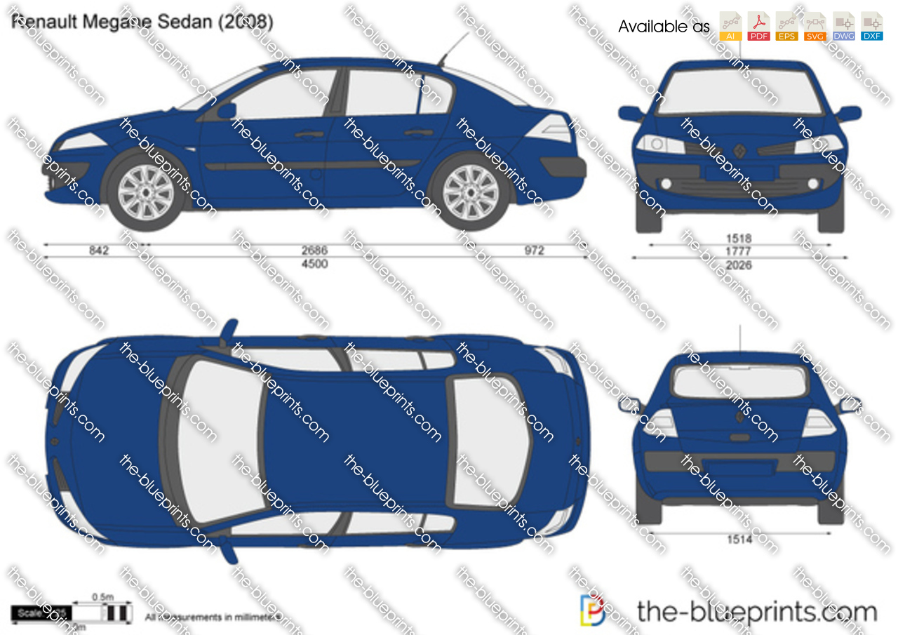 the vector drawing renault megane sedan. Black Bedroom Furniture Sets. Home Design Ideas