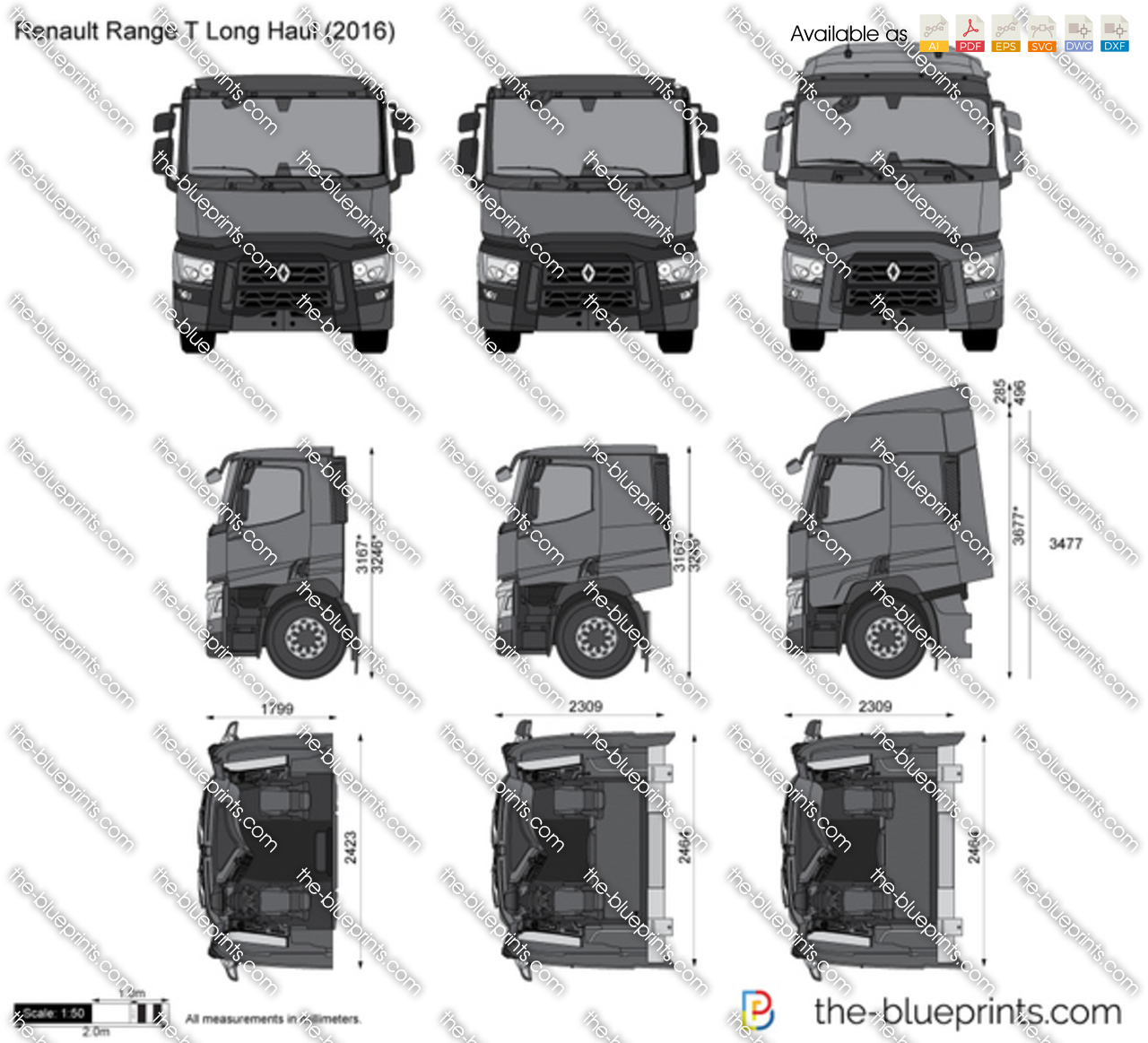 Renault Range T Long Haul Vector Drawing