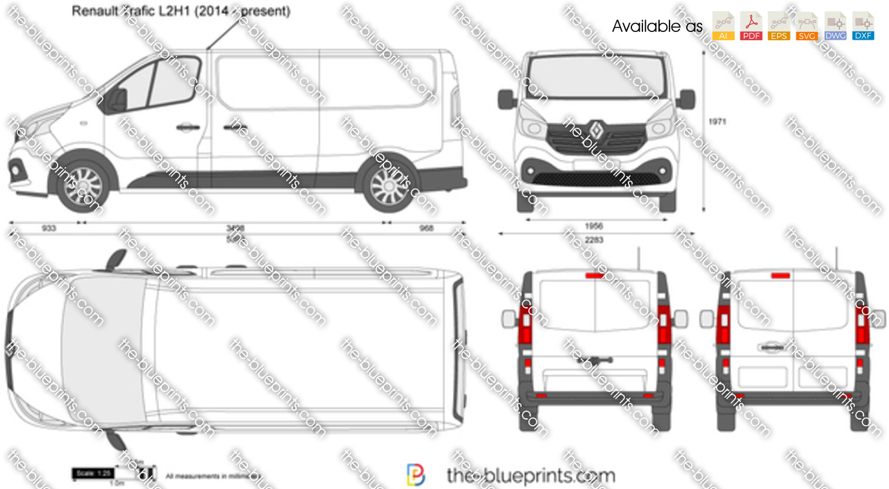 renault trafic l2h1 vector drawing