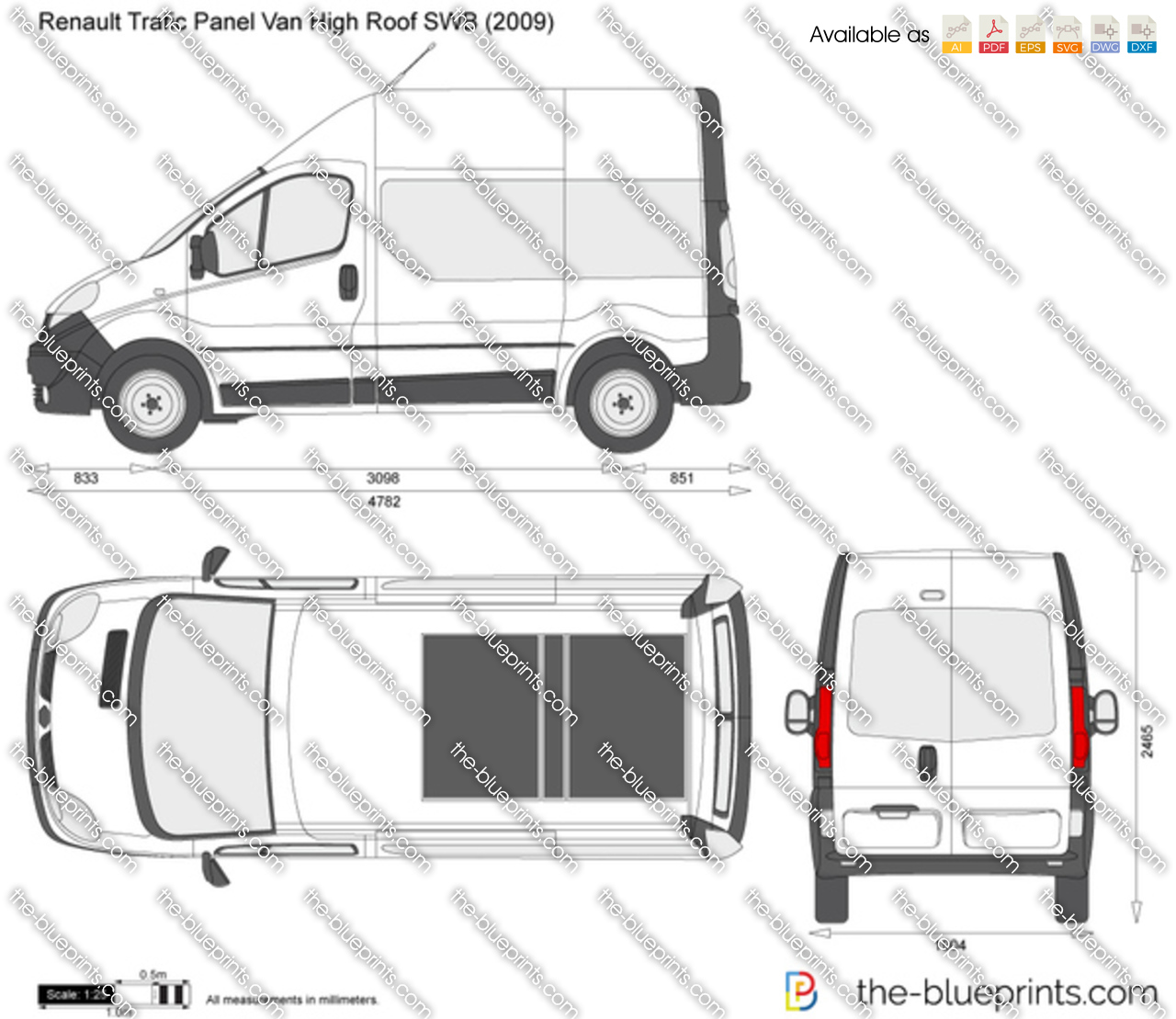 renault trafic panel van high roof swb vector drawing. Black Bedroom Furniture Sets. Home Design Ideas