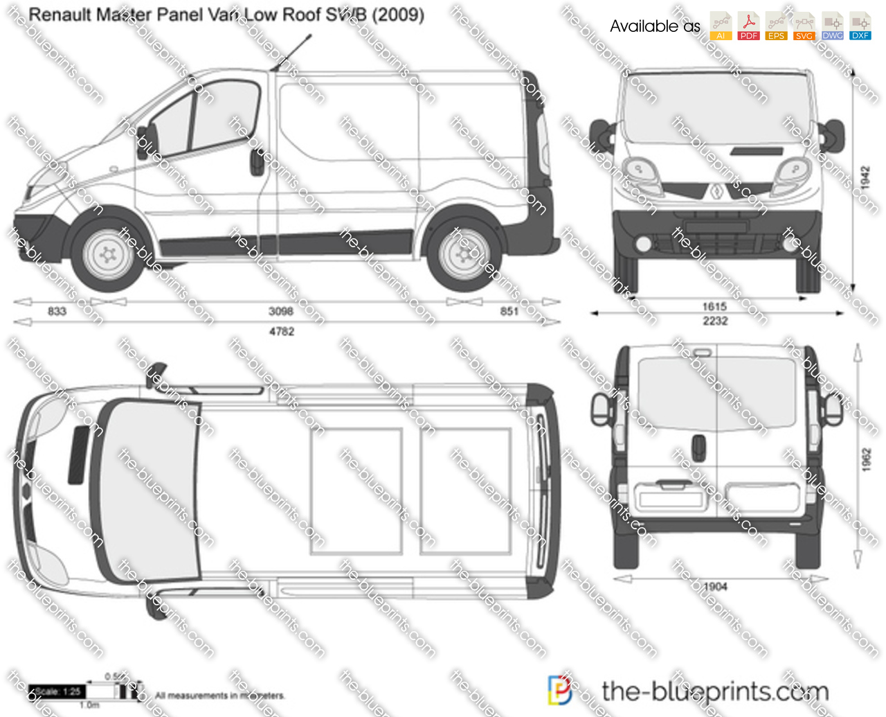 renault trafic panel van low roof swb vector drawing. Black Bedroom Furniture Sets. Home Design Ideas
