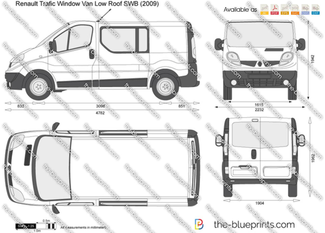 Renault Trafic Window Van Low Roof Swb Vector Drawing
