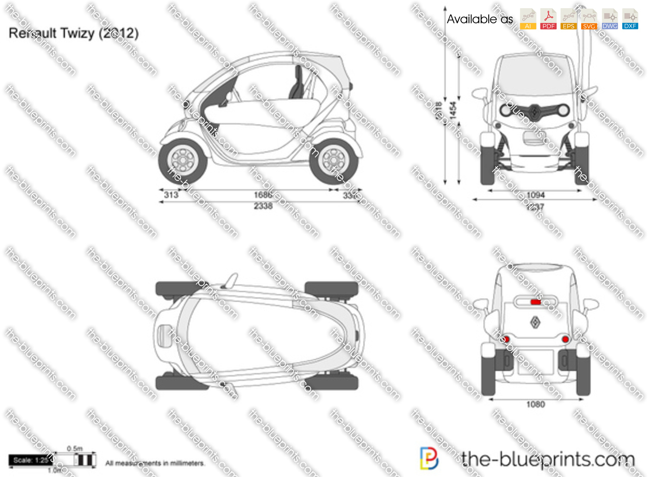 renault twizy vector drawing