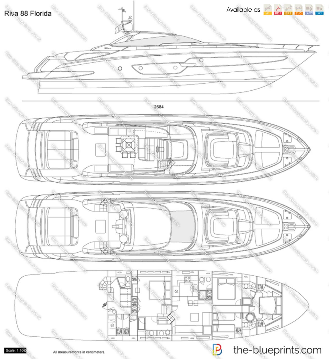 Riva 88 florida vector drawing for Florida blueprint