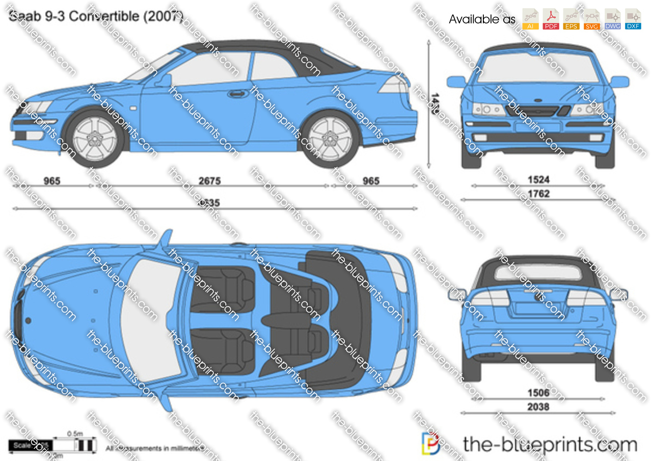the vector drawing saab 9 3 convertible. Black Bedroom Furniture Sets. Home Design Ideas