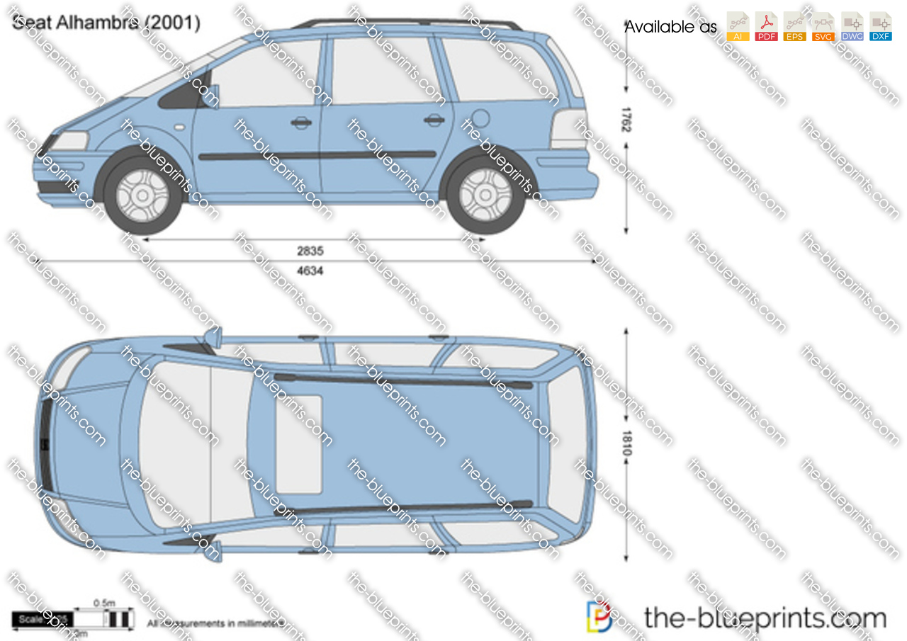 Seat Alhambra Vector Drawing