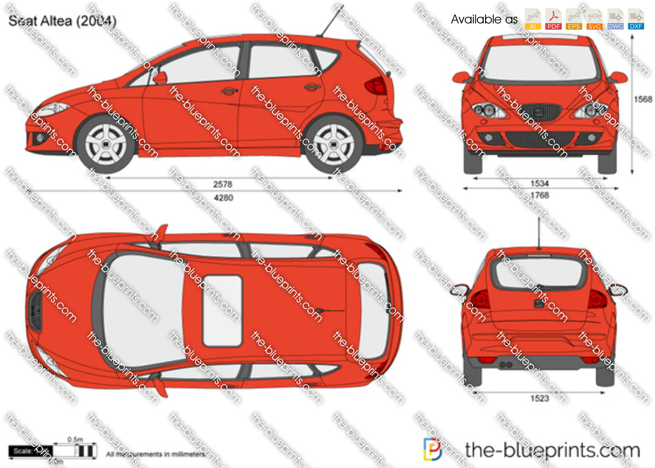 The vector drawing seat altea - Dimensiones seat ...