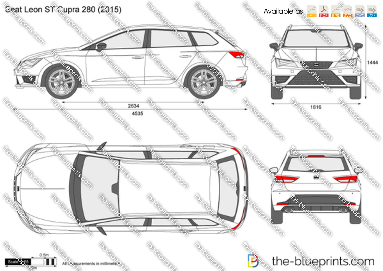seat leon st cupra 280 vector drawing. Black Bedroom Furniture Sets. Home Design Ideas