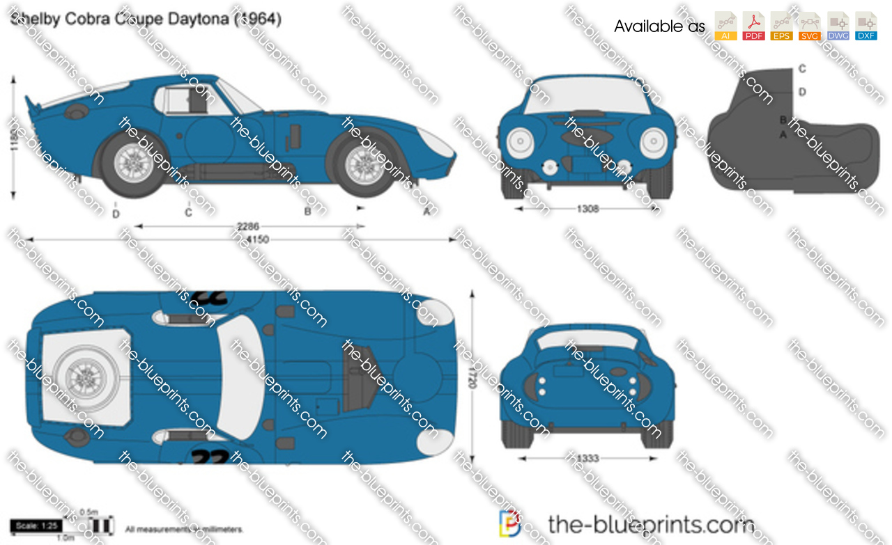 Shelby Cobra Coupe Daytona Vector Drawing