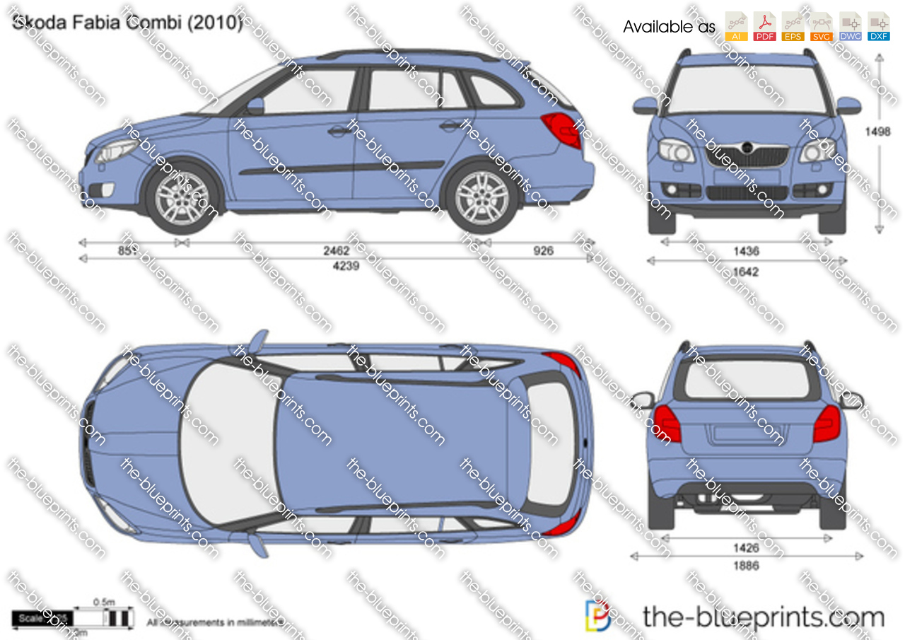 Skoda Fabia Combi Vector Drawing