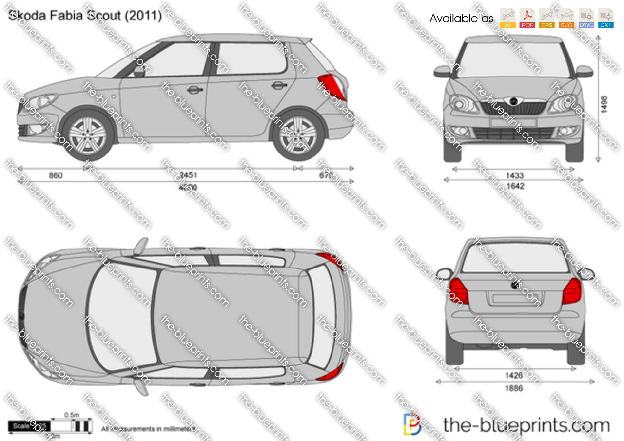 Skoda fabia scout vector drawing for Blueprint sizes