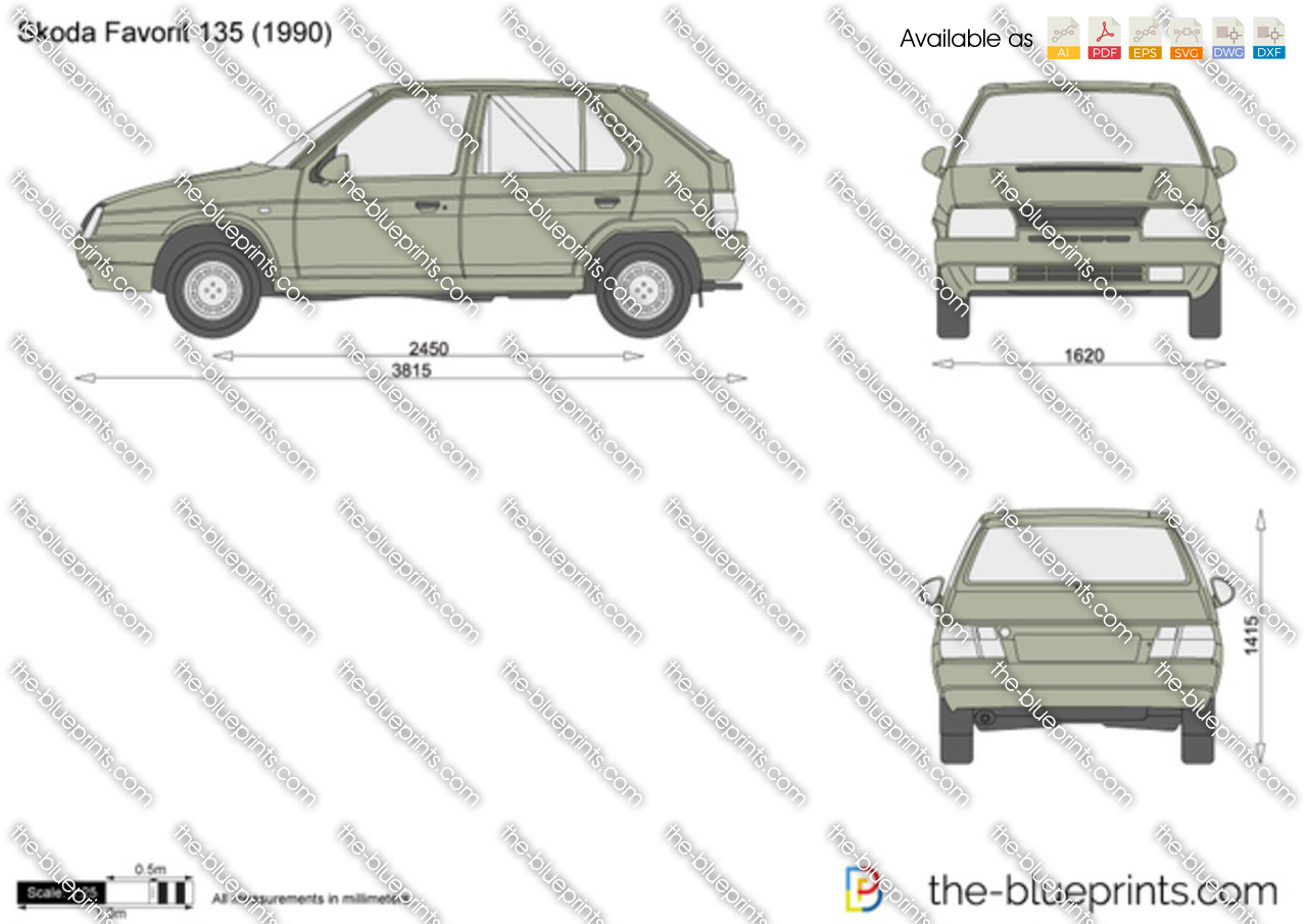 skoda favorit 135 vector drawing
