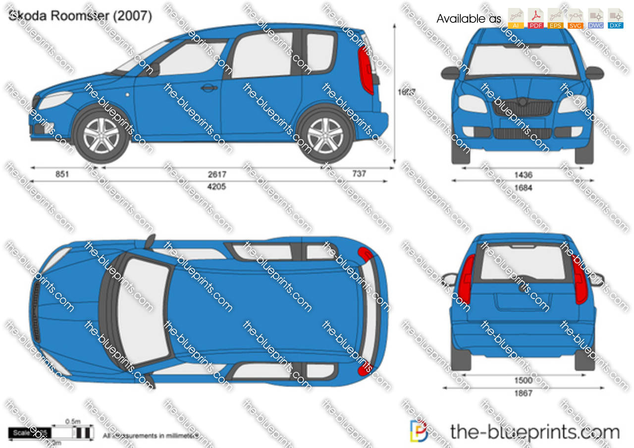 Skoda Roomster Vector Drawing