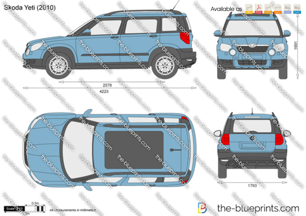 Skoda Yeti Vector Drawing