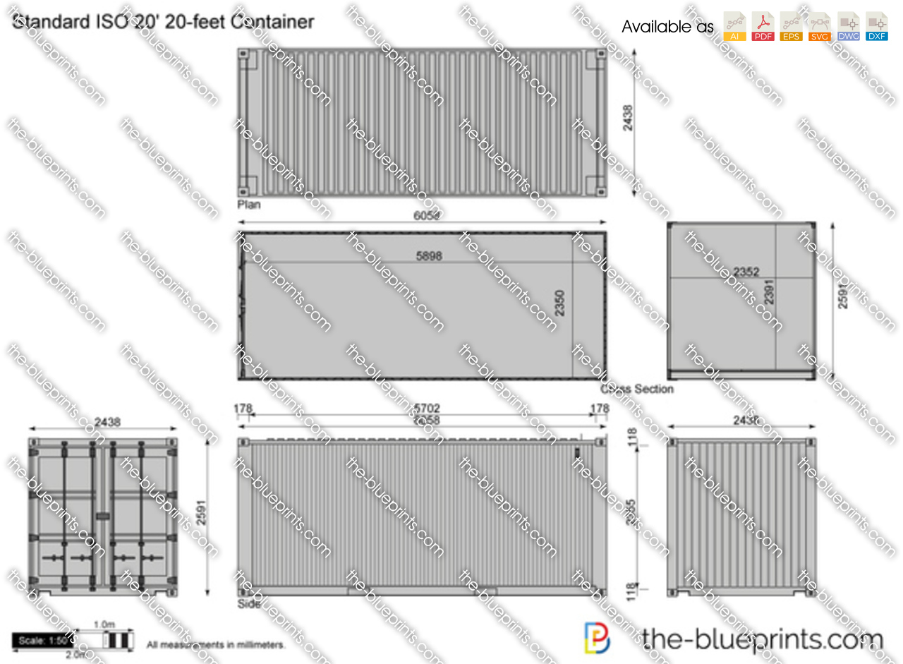 Autocad drawing iso container full version free software for Shipping container blueprints
