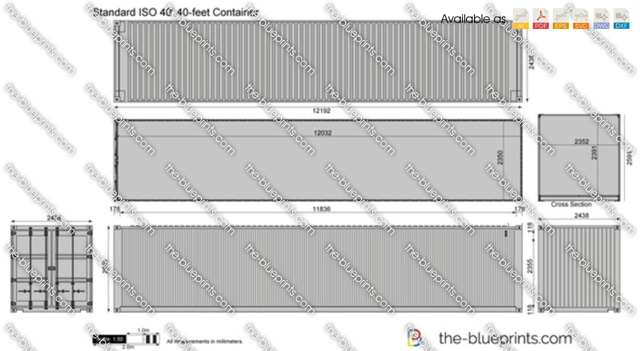Standard iso 40 39 40 feet container vector drawing for Shipping container blueprints