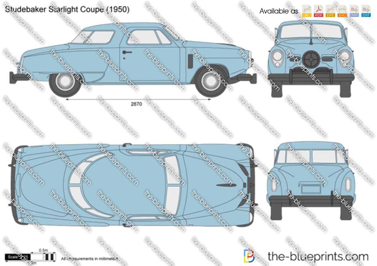 studebaker starlight coupe vector drawing