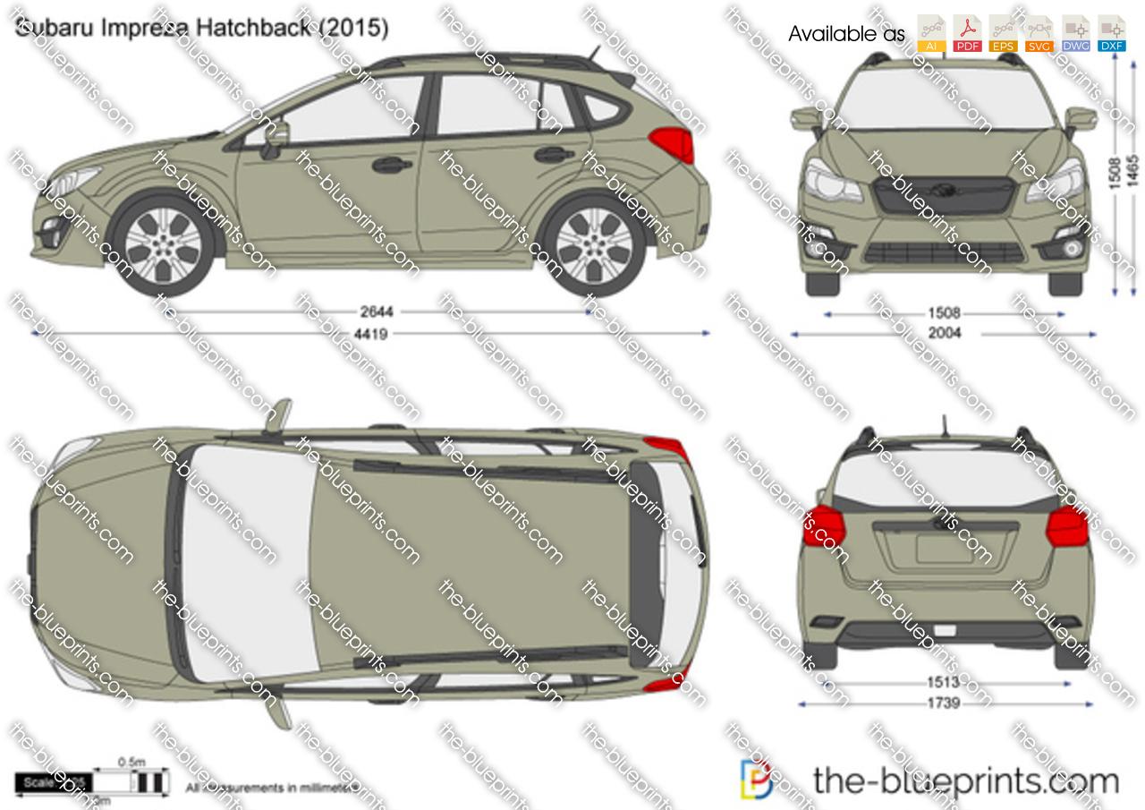 Subaru Impreza Hatchback Vector Drawing