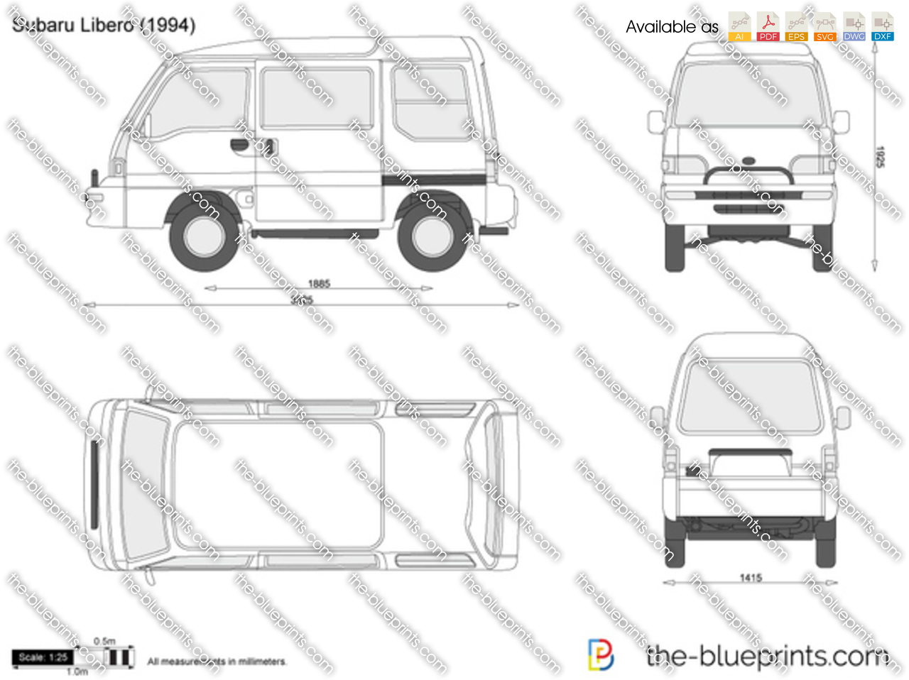 the vector drawing subaru libero. Black Bedroom Furniture Sets. Home Design Ideas