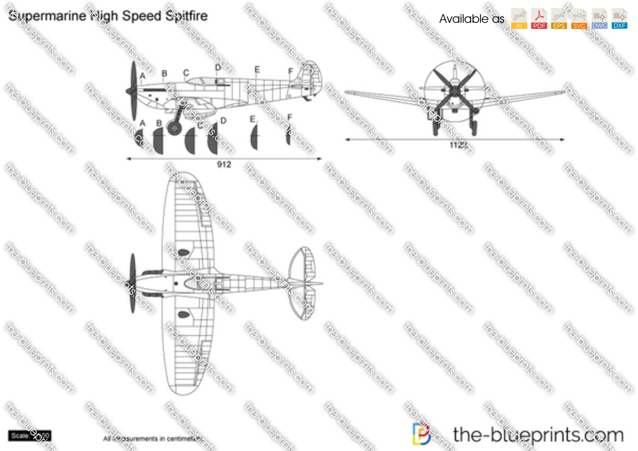 Supermarine Spitfire Plans Drawings http://www.the-blueprints.com/vectordrawings/show/5694/supermarine_high_speed_spitfire/