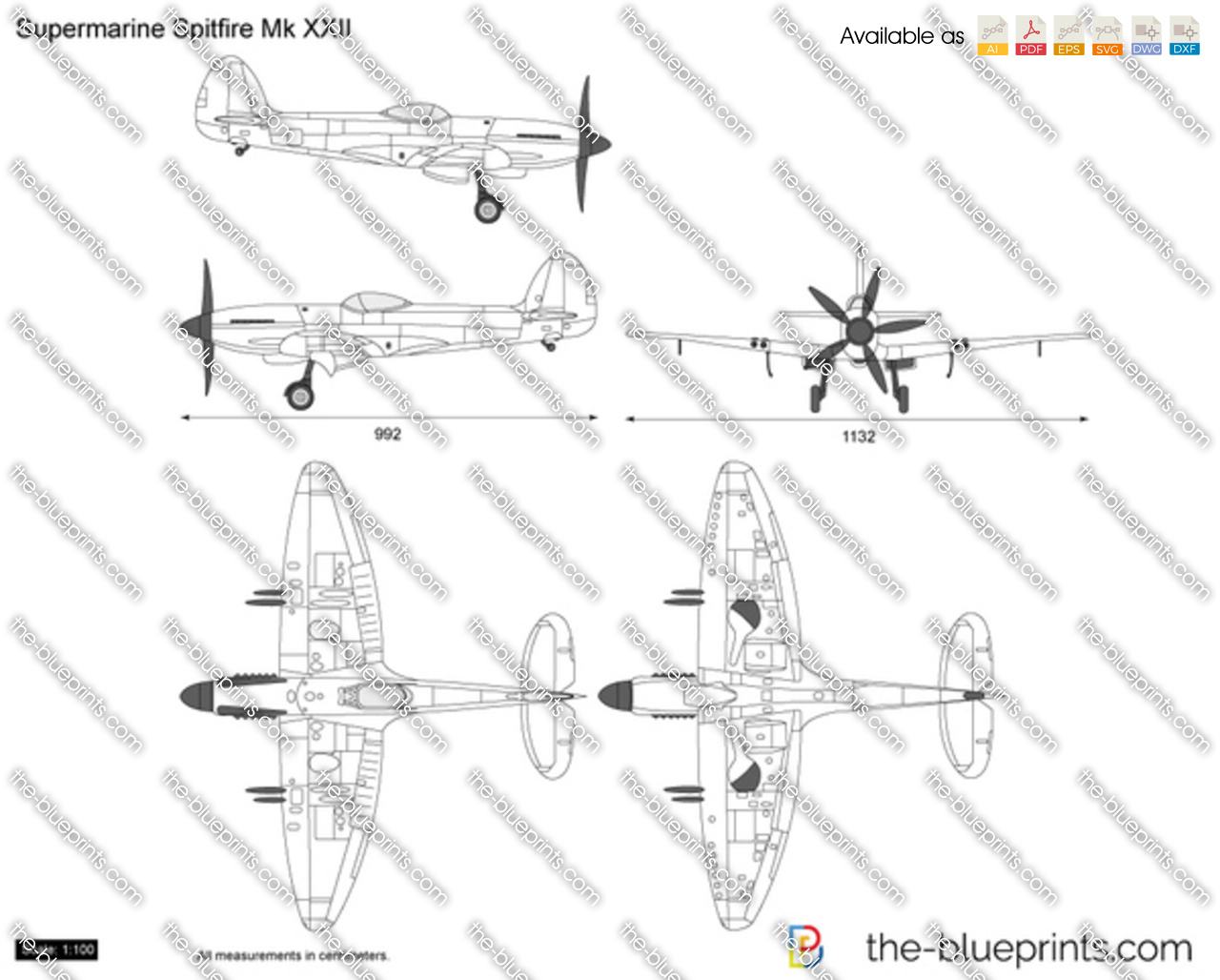 Supermarine Spitfire Plans Drawings http://www.the-blueprints.com/vectordrawings/show/4014/supermarine_spitfire_mk_xxii/
