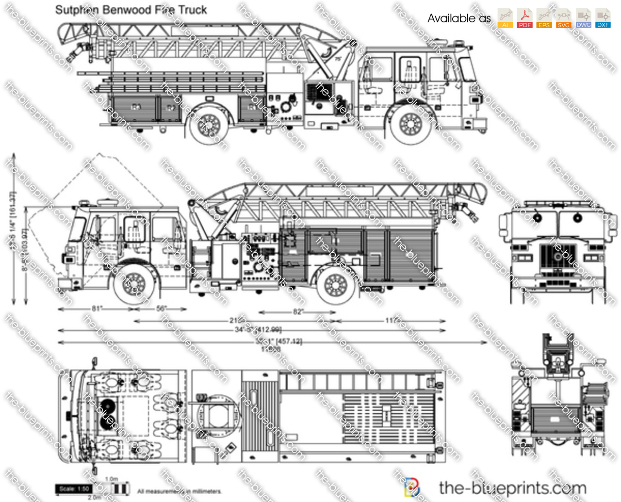 Sutphen Benwood Fire Truck vector drawing