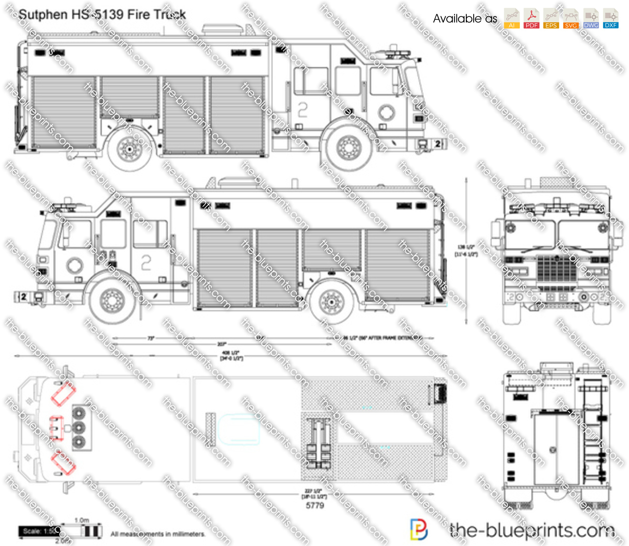 Sutphen Hs 5139 Fire Truck Vector Drawing Diagram Of Pierce Engine