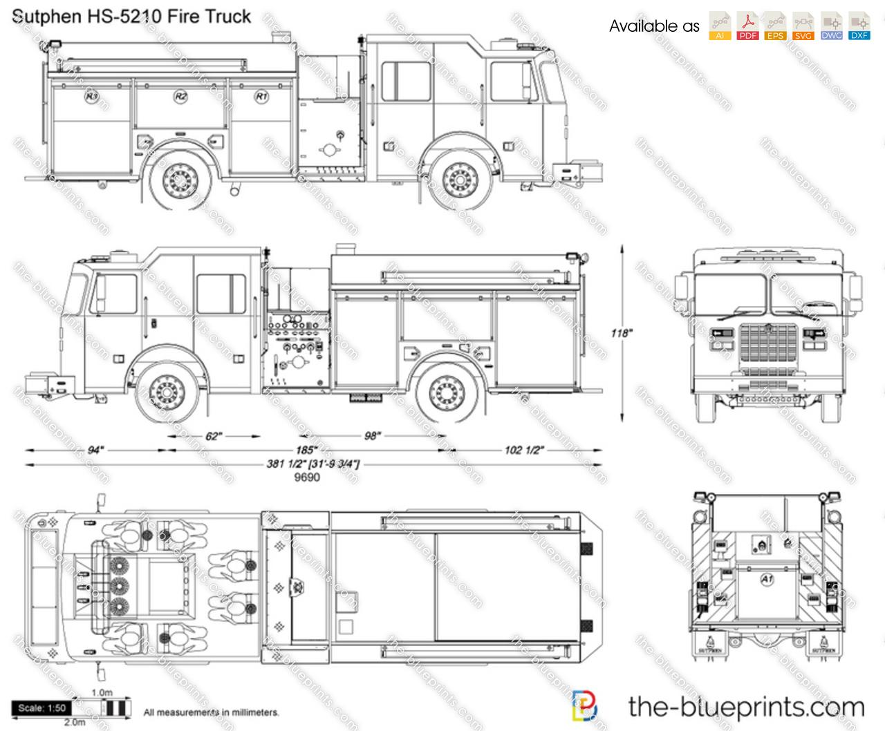 Fire Truck Van Schematic Wire Center Pierce Engine Pump Diagram Sutphen Hs 5210 Vector Drawing Rh The Blueprints Com