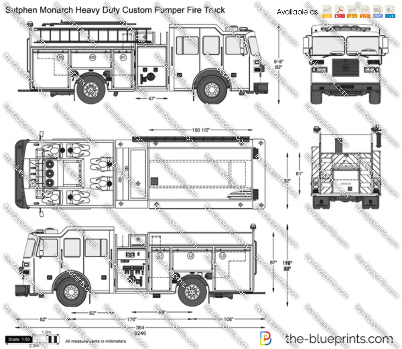 Sutphen Monarch Heavy Duty Custom Pumper Fire Truck Vector
