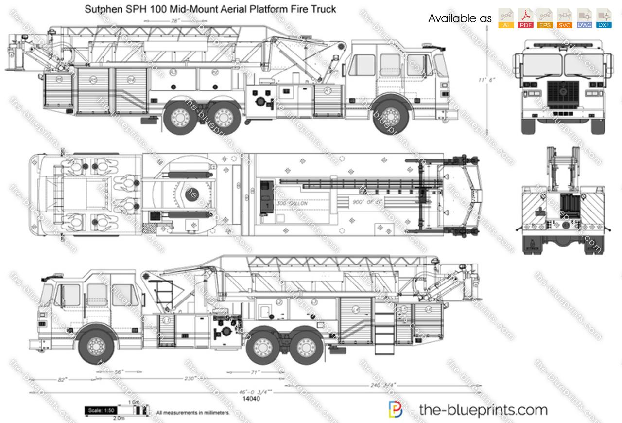 Sutphen SPH 100 Mid-Mount Aerial Platform Fire Truck