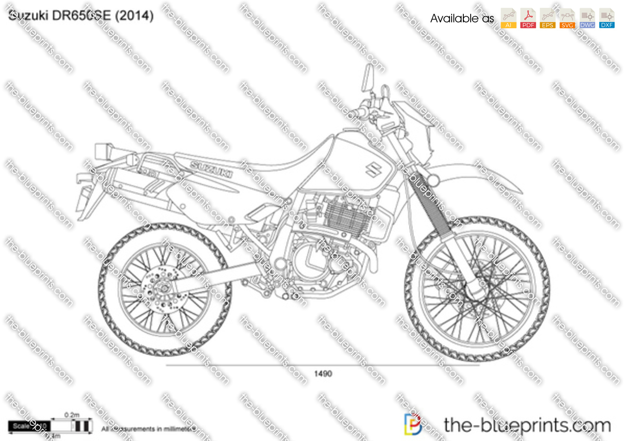 The vector drawing suzuki dr650se for Where to get blueprints