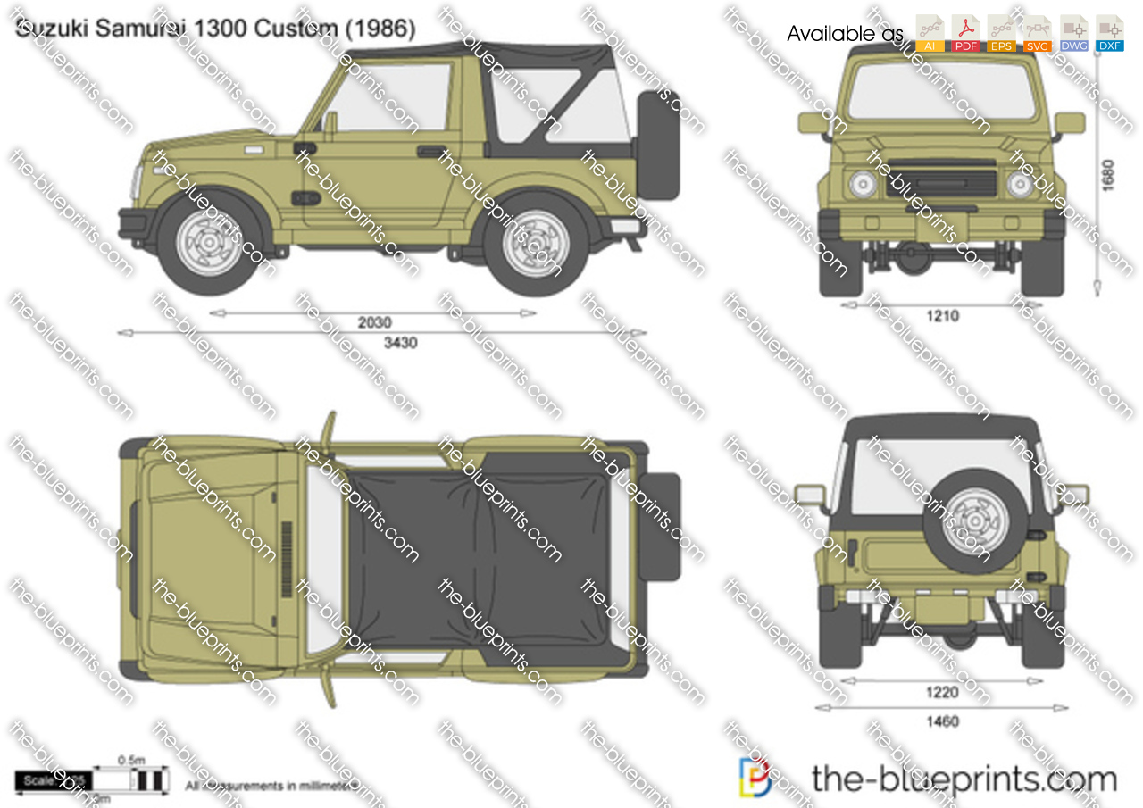 The vector drawing suzuki samurai 1300 for Custom blueprints