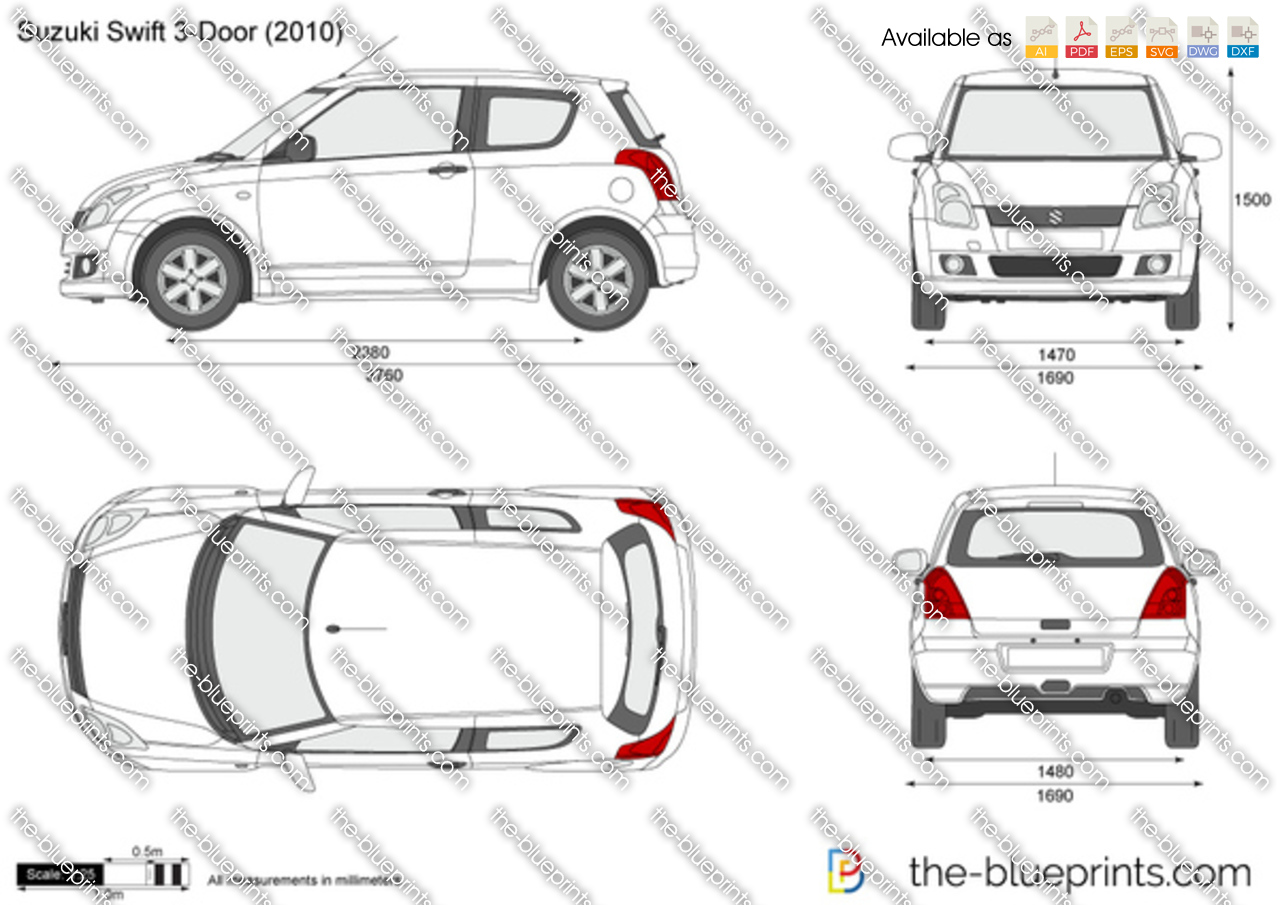 The Vector Drawing Suzuki Swift 3 Door