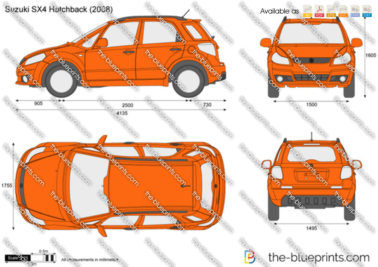 suzuki sx4 hatchback vector drawing. Black Bedroom Furniture Sets. Home Design Ideas