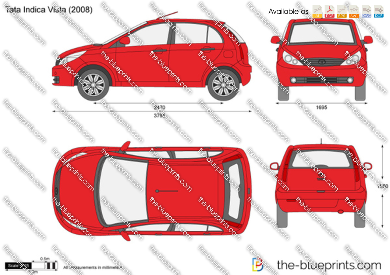 Tata Indica Vista Vector Drawing