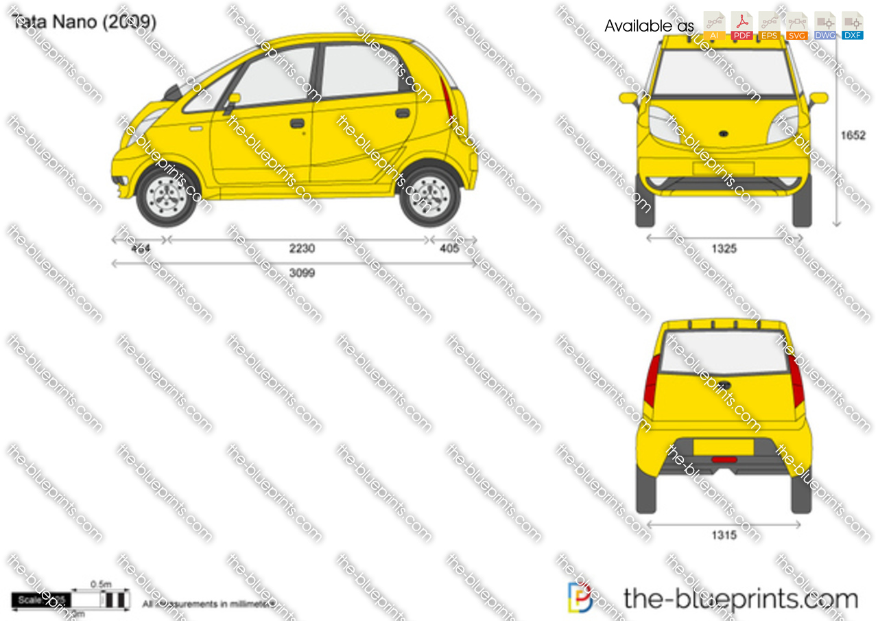 Tata Nano Vector Drawing