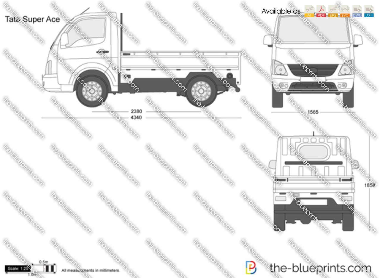 Tata super ace vector drawing for Blueprint sizes