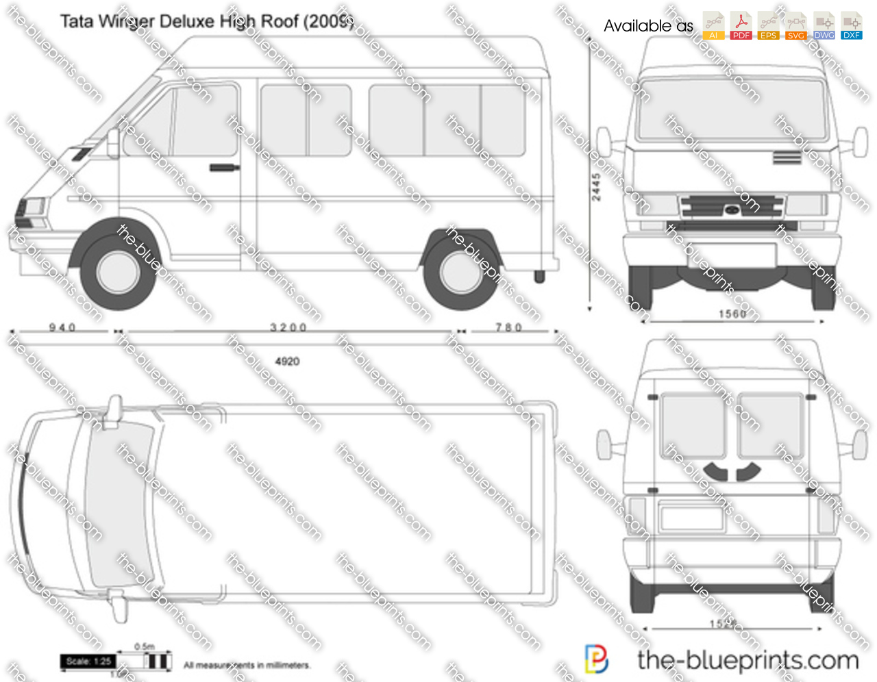tata winger deluxe high roof vector drawing
