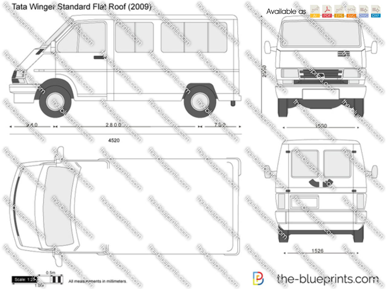tata winger standard flat roof vector drawing