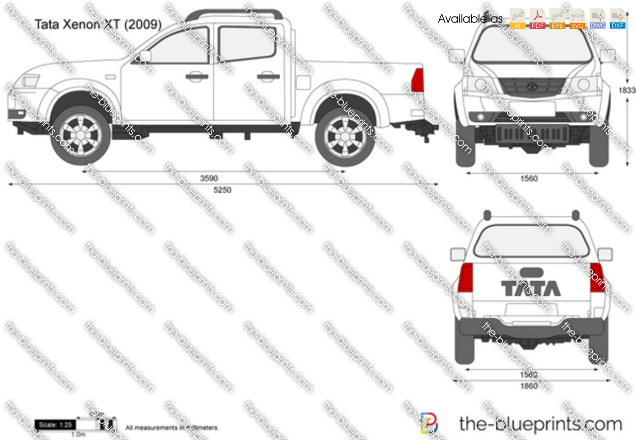 tata xenon xt vector drawing