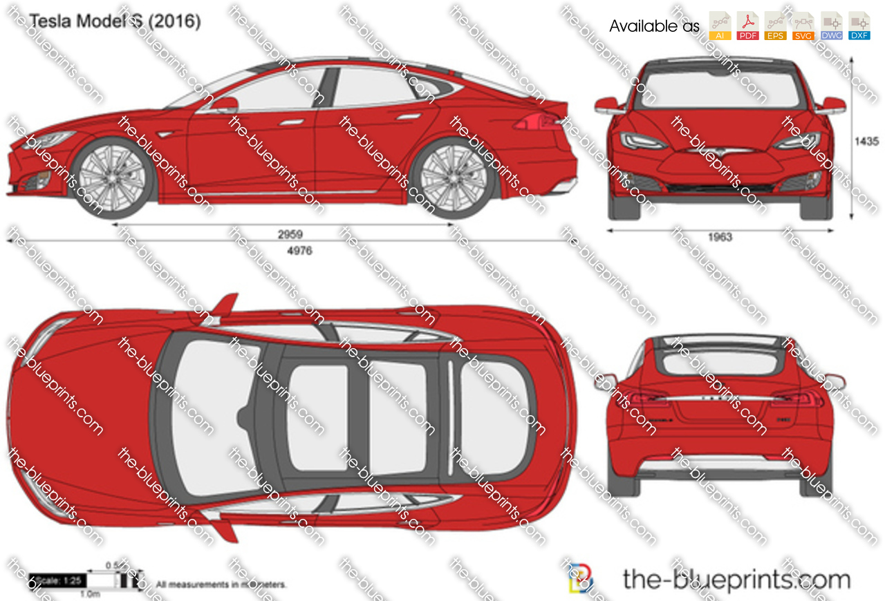 Tesla Model S Vector Drawing