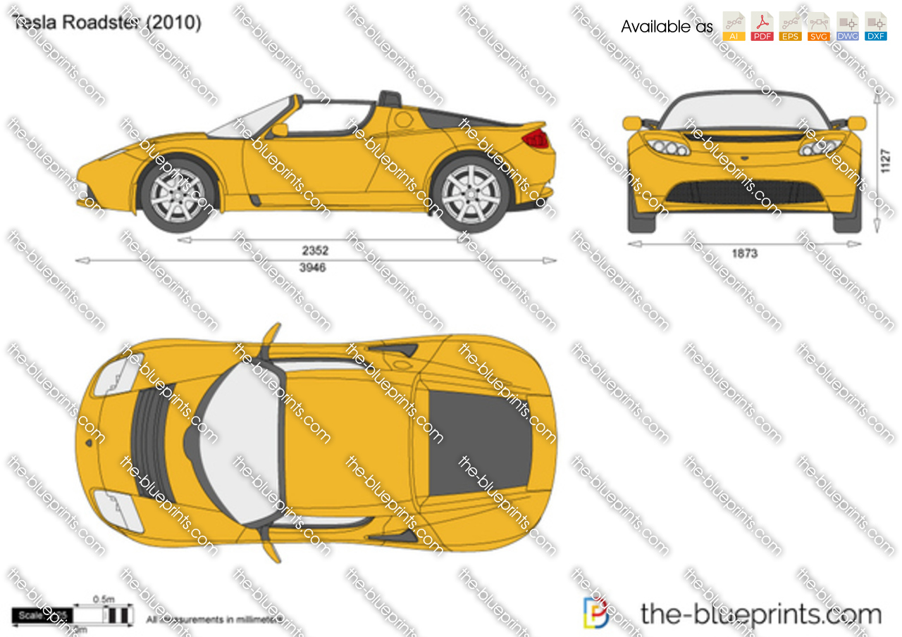 Tesla Roadster Vector Drawing