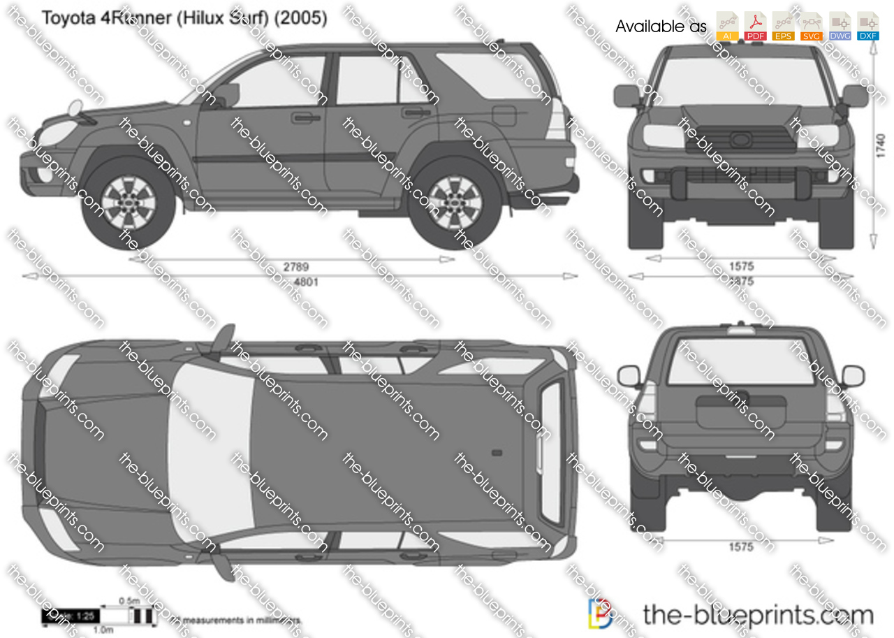 Free Hilux Blueprints: Toyota 4Runner (Hilux Surf) Vector Drawing
