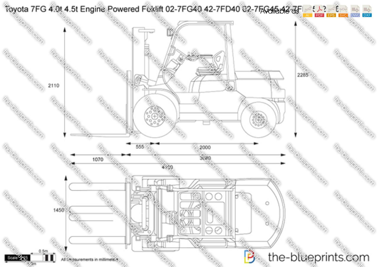 Toyota 7FG 4.0t 4.5t Engine Powered Foklift 02-7FG40 42-7FD40 02-7FG45 42-7FD45