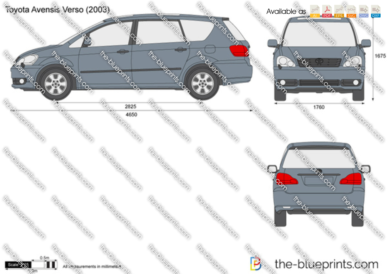 the vector drawing toyota avensis verso. Black Bedroom Furniture Sets. Home Design Ideas