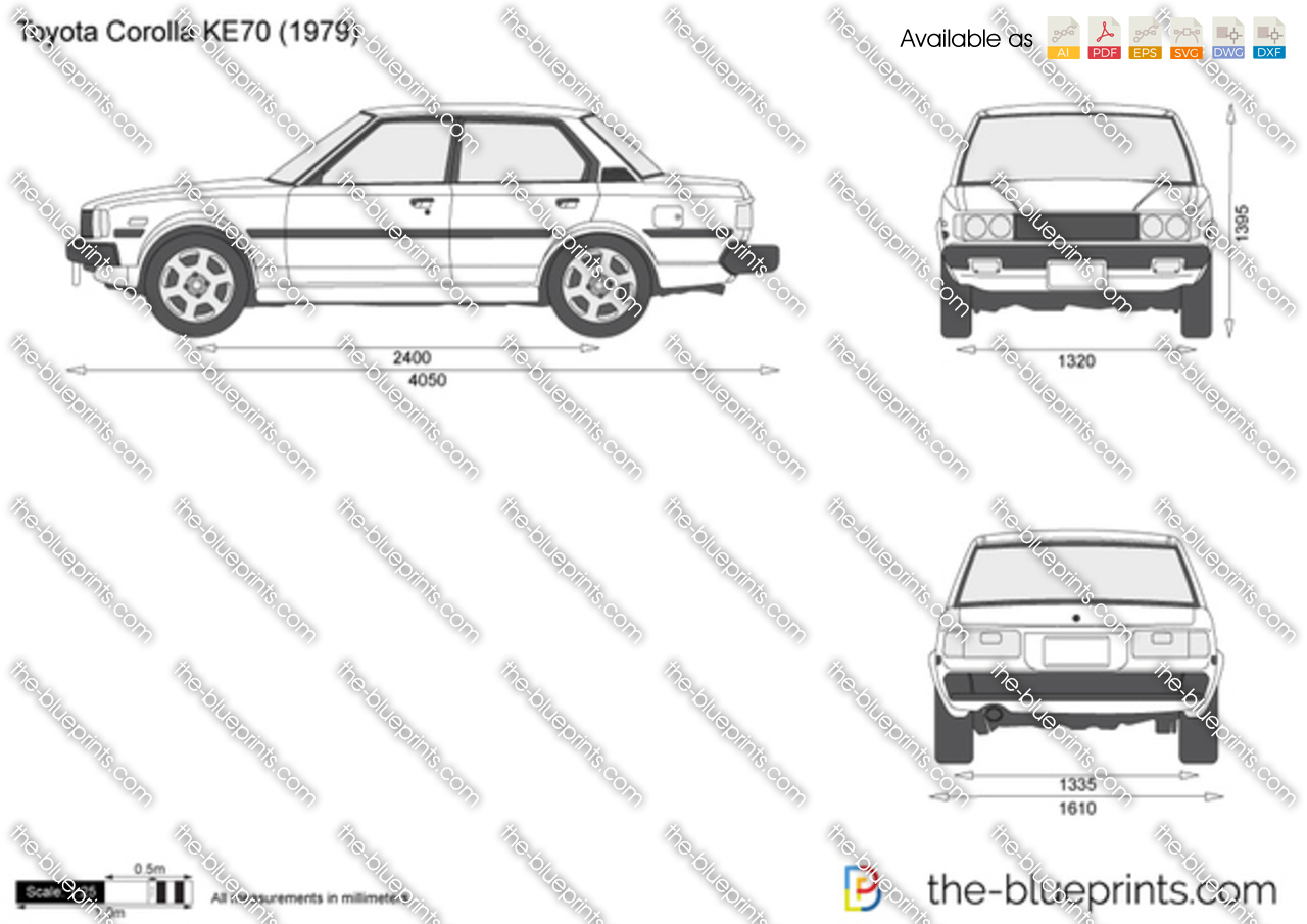 toyota corolla ke70 vector drawing