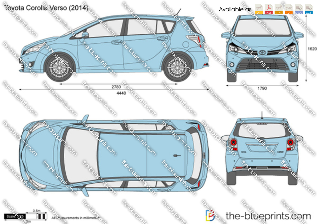 toyota corolla verso vector drawing. Black Bedroom Furniture Sets. Home Design Ideas
