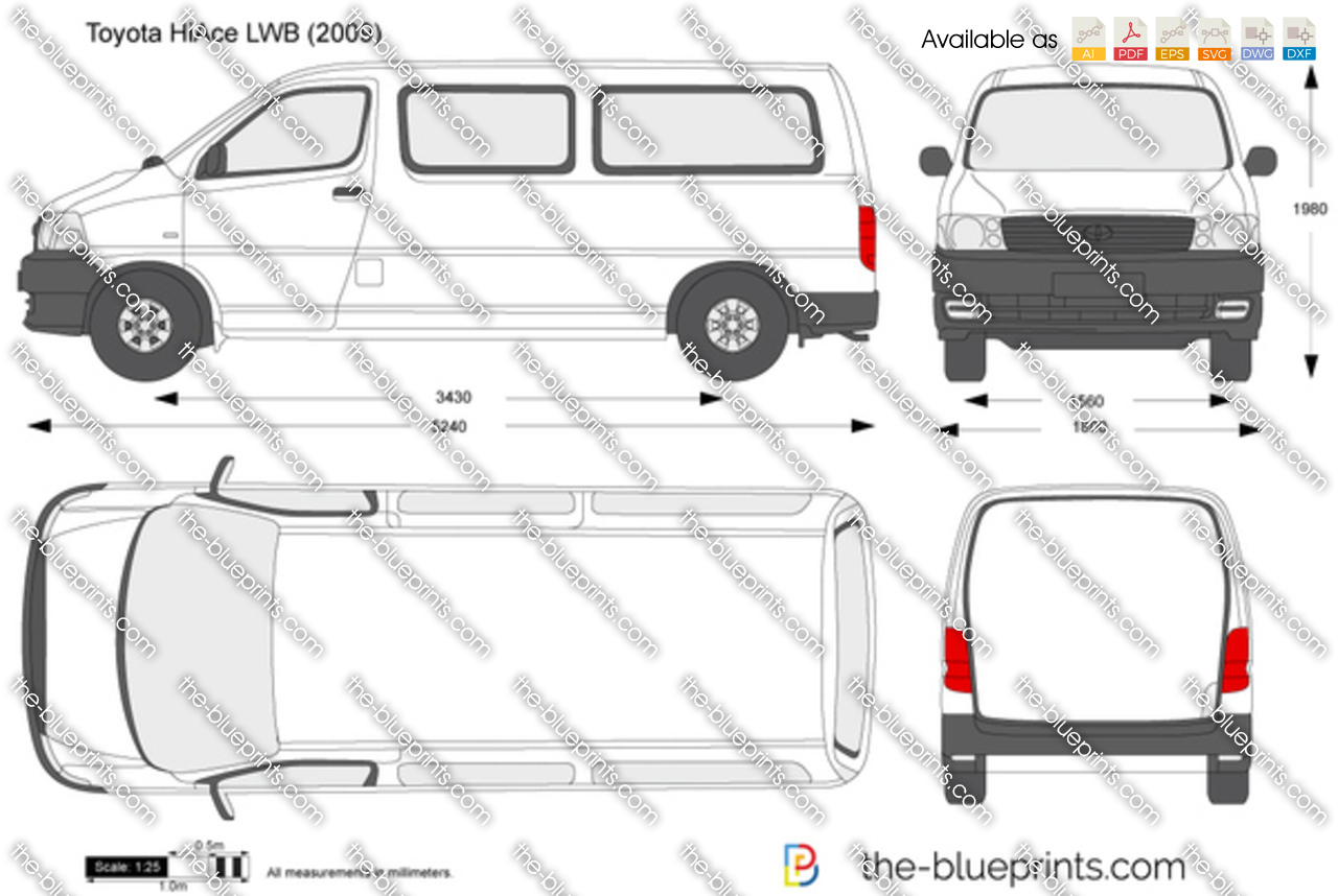 Toyota Hiace Lwb Vector Drawing